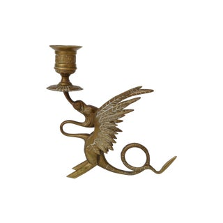 Antique Griffin Brass Candleholder