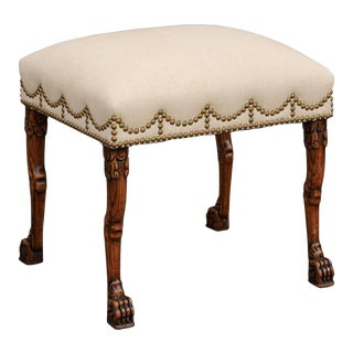 English Carved Oak Stool with Upholstered Seat and Lion Paw Feet, circa 1880