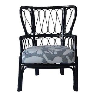 Black Wicker Wingback Chair