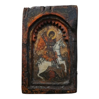 "Saint George & the Dragon -16th/17th century Painted Wood Miniature Icon -Russian frame size 5 x 8"" board"