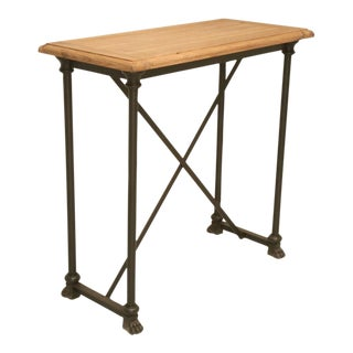 French Rift White Oak and Steel Console Table