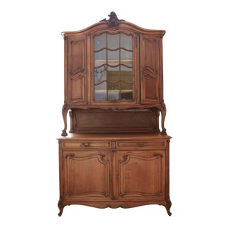 Antique French Provincial Solid Wood Cabinet Hutch