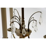Image of Pair Stiffel Large Brass & Crystal Bouillotte Table Lamps