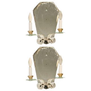 French Mirror & Lucite Sconces - A Pair