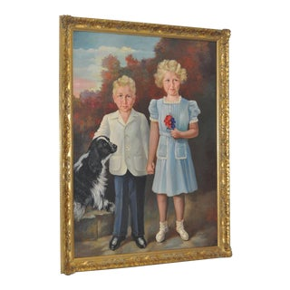 C.1950 Ignatius Stoll Mid-Century Modern Two Children Portrait