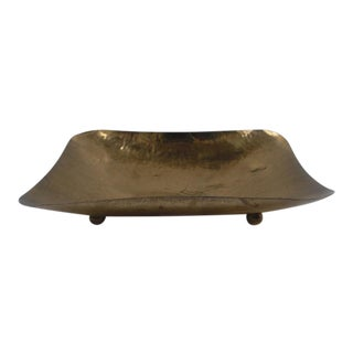 Hammered Brass Concave Footed Tray