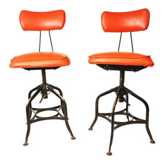 Vintage Industrial Toledo Drafting Stools - A Pair
