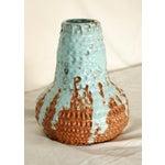 Image of Vintage Brutalist Clay Blue Drip Vase