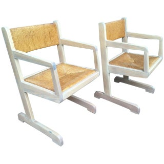 Cerused Oak Cantilever Chairs - Pair