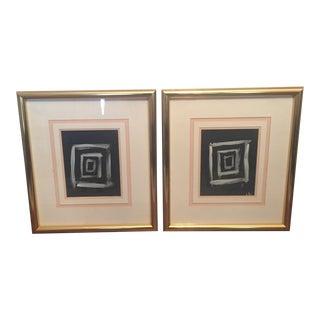 """Original """"Cubed"""" Abstract Modernist Art - A Pair"""