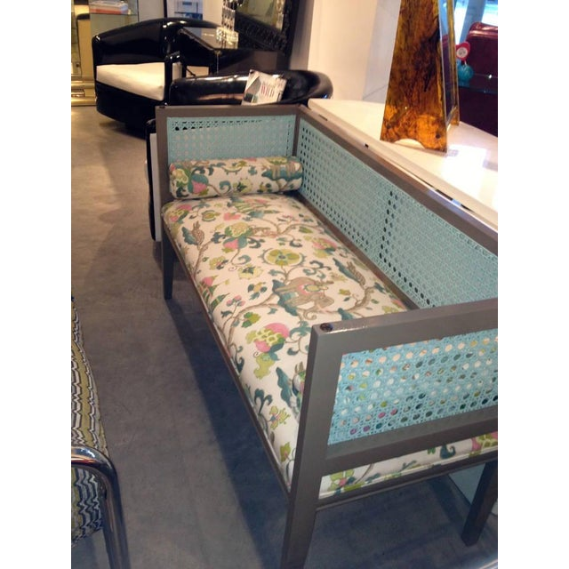 Mid-Century Modern Lacquered and Upholstered Regency Style Settee - Image 5 of 6