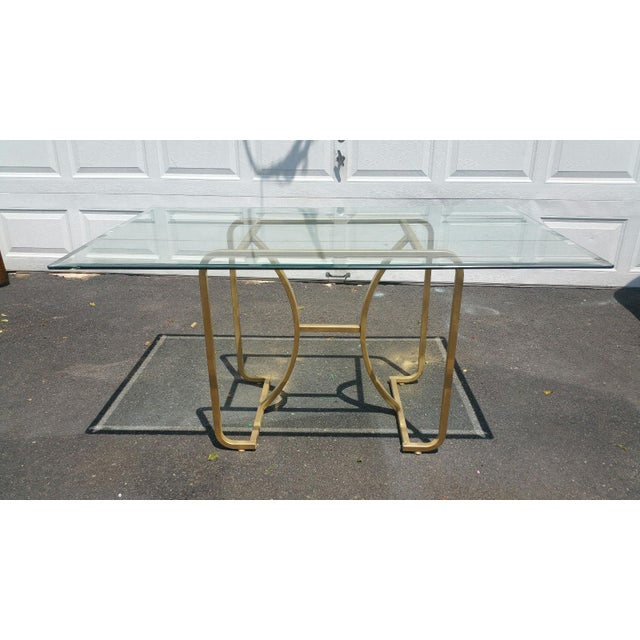 Gold Base & Glass Top Neo Deco Dining Table - Image 2 of 6