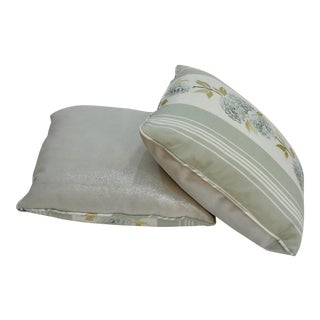 French Embroidered & Silver Glitter Suede Pillow