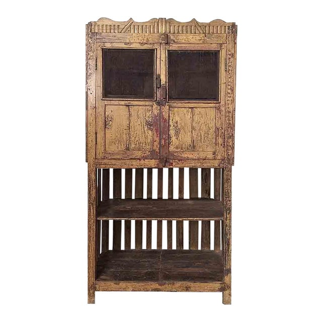 Vintage Yellow Cupboard with Open-Bottom Shelving - Image 1 of 4
