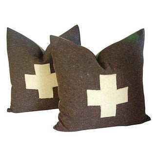 Swiss Army Wool Blanket Pillows - A Pair