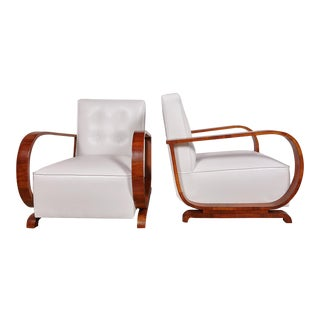 Italian Walnut Club Chairs - A Pair