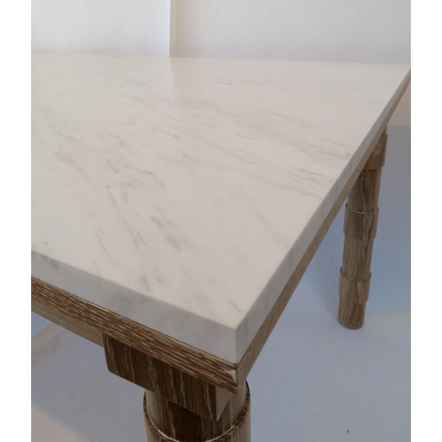 Custom Cersued Oak & Marble Dining Table - Image 3 of 6