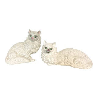 Vintage Ceramic Cat Figurines - A Pair