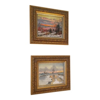 Russian Signed Oil on Canvas Paintings- Set of 2