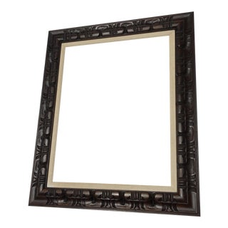 Large Mid-Century Modern Hand Carved Wood Picture Frame