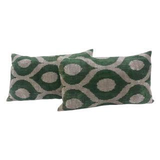 Turkish Green & Cream Ikat Pillows - A Pair