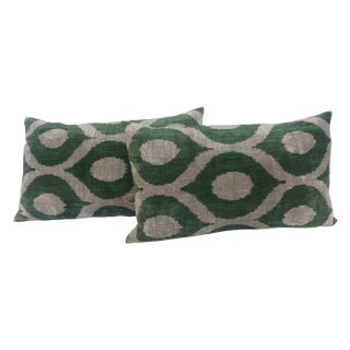 Turkish Green & Cream Ikat Pillows - A Pair