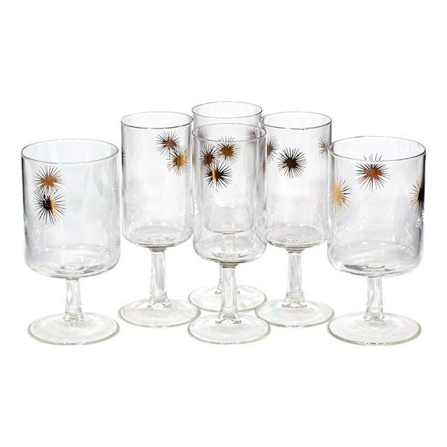 1960's Gilt Atomic Glass Stems - Set of 6 - Image 1 of 4