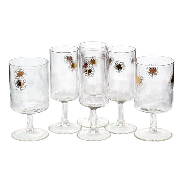 Image of 1960's Gilt Atomic Glass Stems - Set of 6