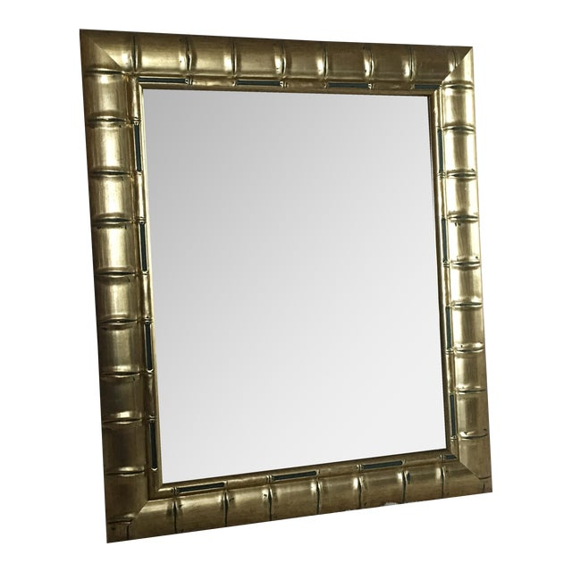 Gold Bamboo Beveled Mirror, Hollywood Regency - Image 1 of 6