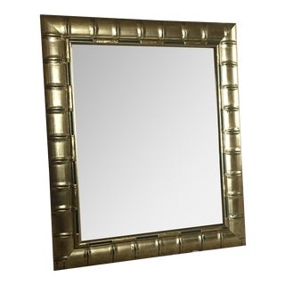 Gold Bamboo Beveled Mirror, Hollywood Regency