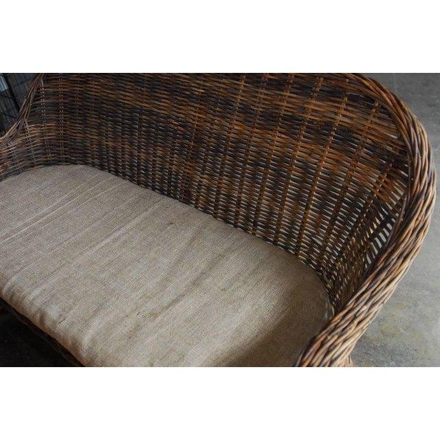 Organic Modern Woven Rattan and Wicker Settee - Image 9 of 9