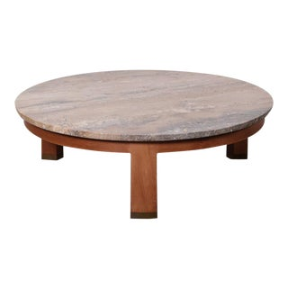 Travertine and Mahogany Coffee Table by Edward Wormley for Dunbar