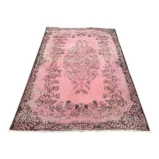 Oushak Turkish Pink Carpet - 5′4″ × 8′7″