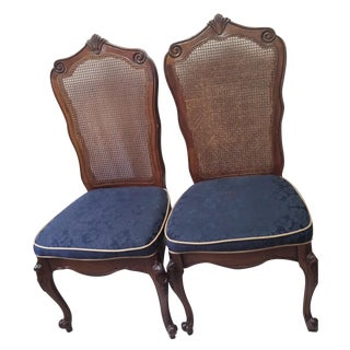Vintage Cane & Fabric Side Chairs - Pair