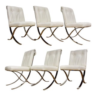 Milo Baughman X-Base Dining Chairs - Set of 6