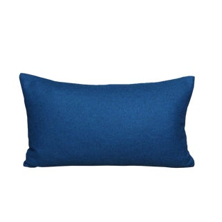Italian Petrol Blue Sustainable Wool Lumbar Pillow