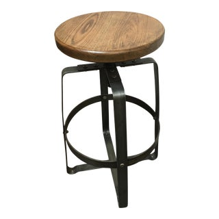 Steel & Oak Adjustable Industrial Bar Stool