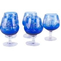 Bohemian-Style Blue Brandy Glasses - Set of 5
