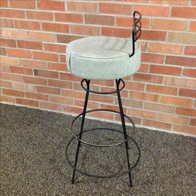 Mid-Century Modern Wrought Iron Stool - Image 4 of 10