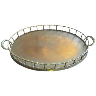 Large Oval Brass Bamboo Tray