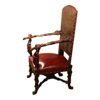 18th Century Italian Carved Walnut Blackamoor Armchair