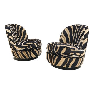 Forsyth One of a Kind Milo Baughman Swivel Chairs in Zebra Hide - Pair