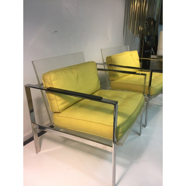 Rare Pair of Modernist Lucite And Nickeled Bronze Chairs by Laverne - Image 7 of 10