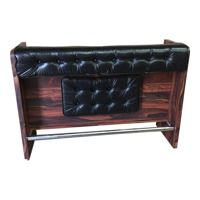 1960s Vintage Black Leather Tufted Dry Bar - Image 1 of 11