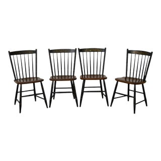 Hitchcock Set of 4 Black Stenciled & Maple Windsor Style Dining Chairs