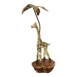 Brutalist Giraffe & Palm Tree Sculpture