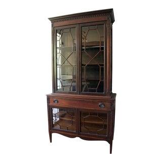 Antique Regency Mahogany Latticework Breakfront Cabinet