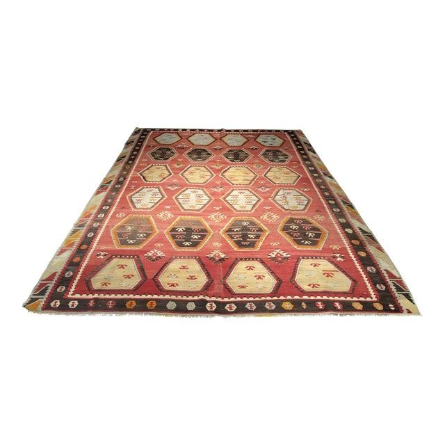 "Vintage Turkish Kilim Rug- 7'7"" x 11'7"" - Image 1 of 8"
