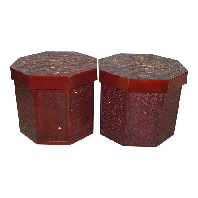 """Antique 16"""" Tall Chinese Red Storage Stools - Image 1 of 11"""