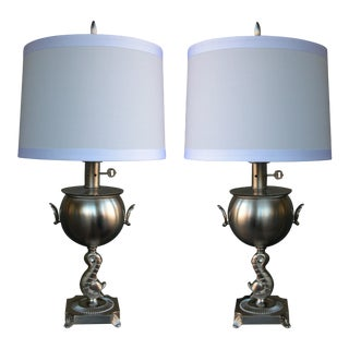 A Pair of American Art Deco Brushed-Nickel Plated Lamps
